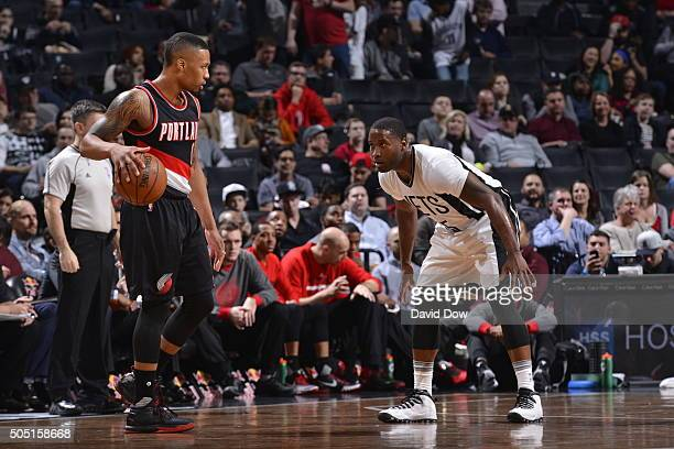 Damian Lillard of the Portland Trail Blazers controls the ball against the Brooklyn Nets on January 15 2015 at Barclays Center in Brooklyn New York...