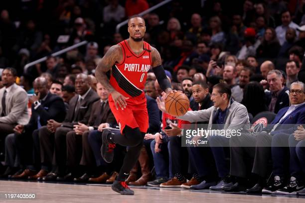 Damian Lillard of the Portland Trail Blazers dribbles the ball against the Washington Wizards at Capital One Arena on January 03 2020 in Washington...