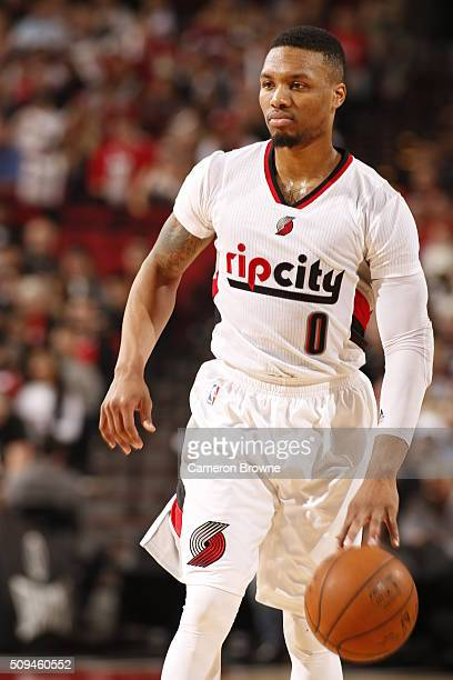 Damian Lillard of the Portland Trail Blazers dribbles the ball against the Houston Rockets on February 10 2016 at the Moda Center in Portland Oregon...