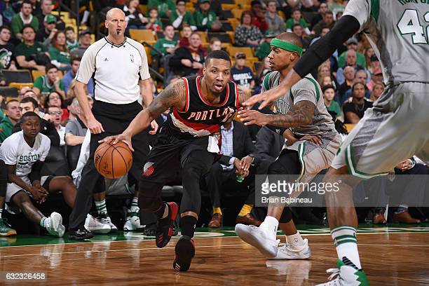 Damian Lillard of the Portland Trail Blazers drives to the basket against the Boston Celtics on January 21 2017 at the TD Garden in Boston...