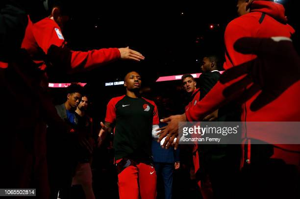 Damian Lillard of the Portland Trail Blazers during pregame against the Minnesota Timberwolves at Moda Center on November 4, 2018 in Portland,...