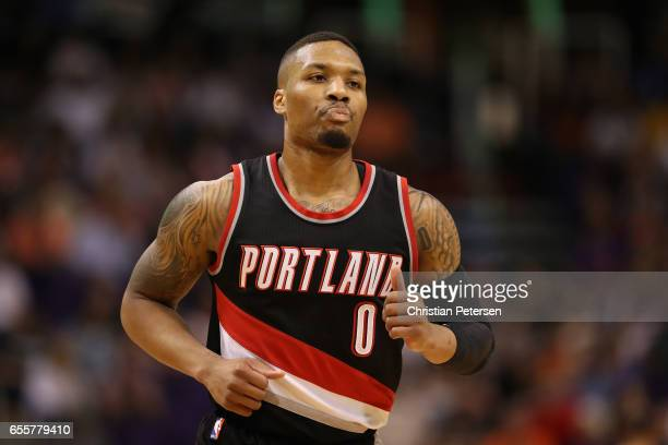Damian Lillard of the Portland Trail Blazers during the first half of the NBA game against the Phoenix Suns at Talking Stick Resort Arena on March 12...