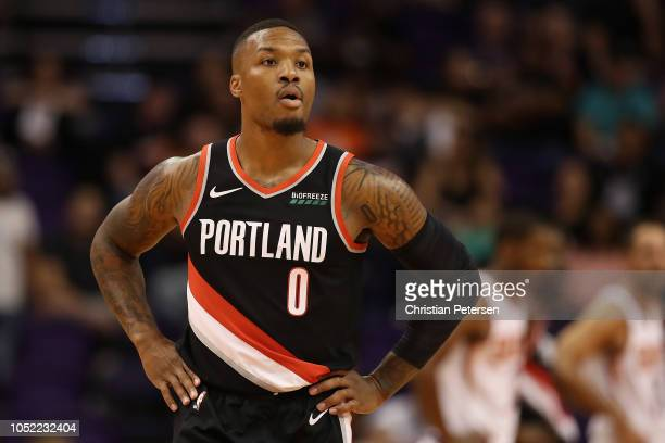 Damian Lillard of the Portland Trail Blazers during the NBA preseason game against the Phoenix Suns at Talking Stick Resort Arena on October 5 2018...