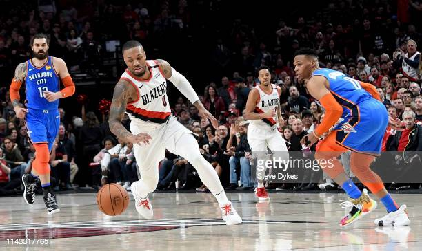 Damian Lillard of the Portland Trail Blazers goes after a ball during the first half of Game One of the Western Conference quarterfinals against the...
