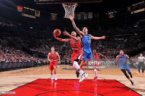 Damian Lillard of the Portland Trail Blazers goes for the layup during the game against the Oklahoma City Thunder on January 10 2016 at the Moda...