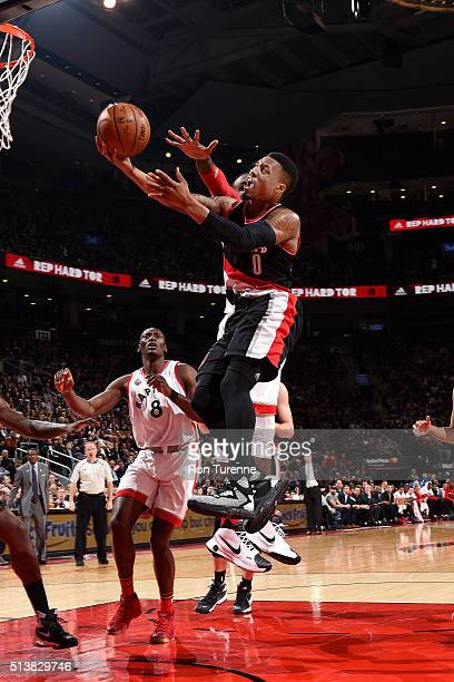 Damian Lillard of the Portland Trail Blazers goes for the layup during the game against the Toronto Raptors on March 4 2016 at the Air Canada Centre...
