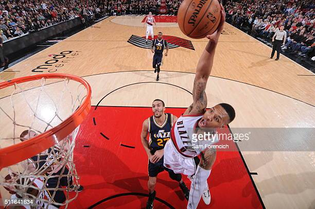 Damian Lillard of the Portland Trail Blazers goes to the basket against the Utah Jazz on February 21 2016 at the Moda Center in Portland Oregon NOTE...