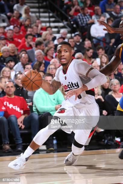 Damian Lillard of the Portland Trail Blazers goes to the basket against the Golden State Warriors during Game Four of the Western Conference...