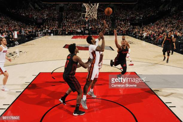 Damian Lillard of the Portland Trail Blazers goes to the basket against the Miami Heat on March 12 2018 at the Moda Center in Portland Oregon NOTE TO...