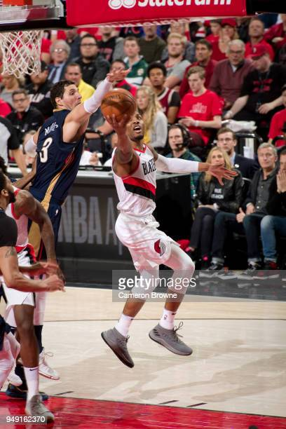 Damian Lillard of the Portland Trail Blazers goes to the basket against the New Orleans Pelicans in Game Two of the Western Conference Quarterfinals...