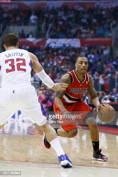 Damian Lillard of the Portland Trail Blazers handles the ball against the Los Angeles Clippers on April 16 2013 at STAPLES Center in Los Angeles...