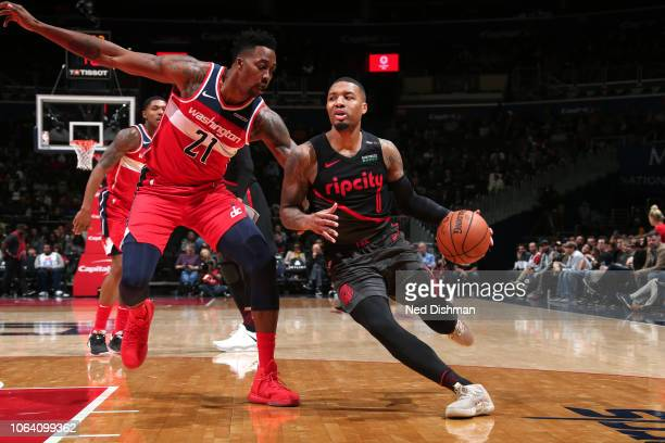 Damian Lillard of the Portland Trail Blazers handles the ball against the Washington Wizards on November 18 2018 at Capital One Arena in Washington...