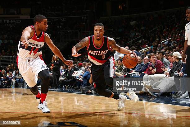 Damian Lillard of the Portland Trail Blazers handles the ball against the Washington Wizards on January 18 2016 at Verizon Center in Washington DC...