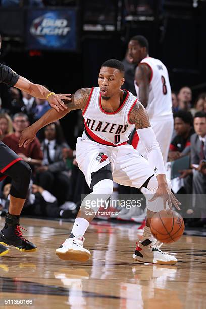 Damian Lillard of the Portland Trail Blazers handles the ball against the Golden State Warriorson February 19 2016 at the Moda Center in Portland...