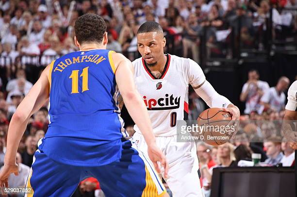 Damian Lillard of the Portland Trail Blazers handles the ball against the Golden State Warriors in Game Three of the Western Conference Semifinals...