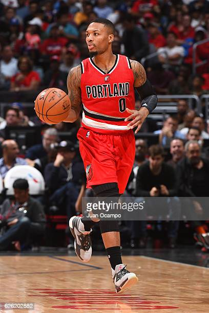 Damian Lillard of the Portland Trail Blazers handles the ball against the LA Clippers on November 09 2016 at STAPLES Center in Los Angeles California...