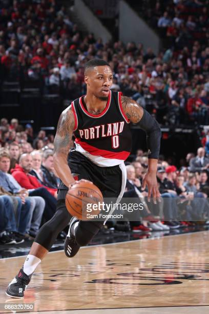 Damian Lillard of the Portland Trail Blazers handles the ball against the Utah Jazz on April 8 2017 at the Moda Center in Portland Oregon NOTE TO...