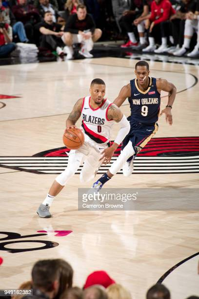 Damian Lillard of the Portland Trail Blazers handles the ball against the New Orleans Pelicans in Game Two of the Western Conference Quarterfinals...