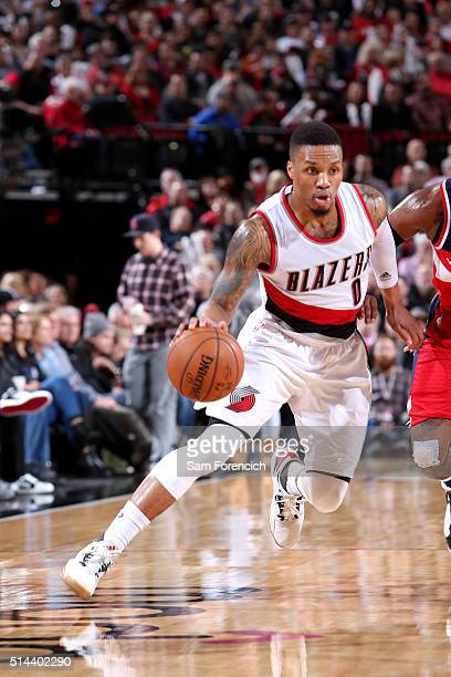Damian Lillard of the Portland Trail Blazers handles the ball during the game against the Washington Wizards on March 8 2016 at the Moda Center Arena...