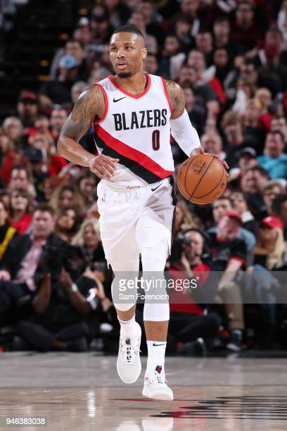 Damian Lillard of the Portland Trail Blazers handles the ball during the game against the New Orleans Pelicans in Game One of Round One of the 2018...
