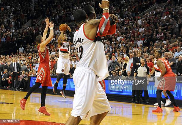 Damian Lillard of the Portland Trail Blazers hits a last second shot to win the game in the fourth quarter of Game Six of the Western Conference...