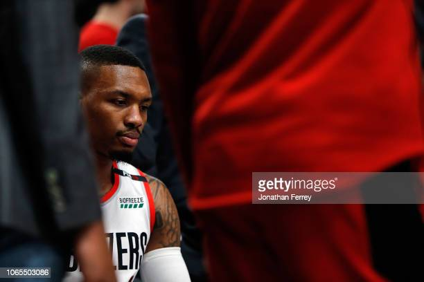 Damian Lillard of the Portland Trail Blazers in action against the Minnesota Timberwolves at Moda Center on November 4 2018 in Portland Oregon NOTE...