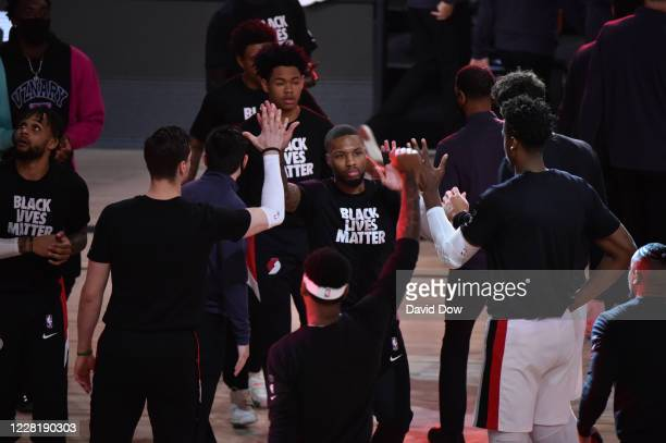 Damian Lillard of the Portland Trail Blazers is introduced against the Los Angeles Lakers for Game four of the first round of the 2020 Playoffs as...
