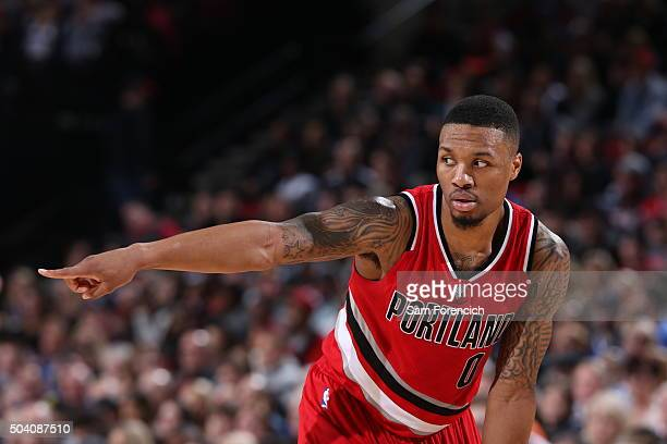Damian Lillard of the Portland Trail Blazers is seen during the game against the Golden State Warriors on January 8 2016 at the Moda Center in...