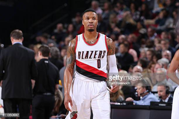 Damian Lillard of the Portland Trail Blazers is seen during the game against the Golden State Warriors on February 19 2016 at the Moda Center in...