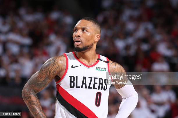 Damian Lillard of the Portland Trail Blazers looks on during a game against the Oklahoma City Thunder during Game Five Round One of the 2019 NBA...