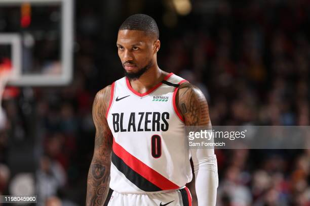 Damian Lillard of the Portland Trail Blazers looks on during a game against the Utah Jazz on February 01 2020 at the Moda Center Arena in Portland...