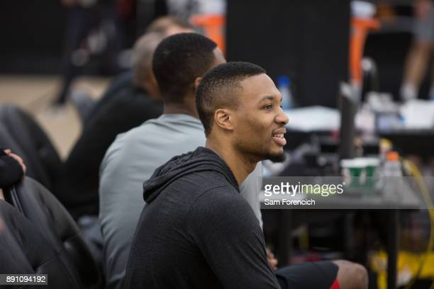 Damian Lillard of the Portland Trail Blazers looks on during an all access practice on December 7 2017 at the Trail Blazer Practice Facility in...