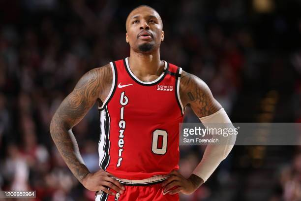 Damian Lillard of the Portland Trail Blazers looks on during the game on March 10 , 2020 at the Moda Center Arena in Portland, Oregon. NOTE TO USER:...