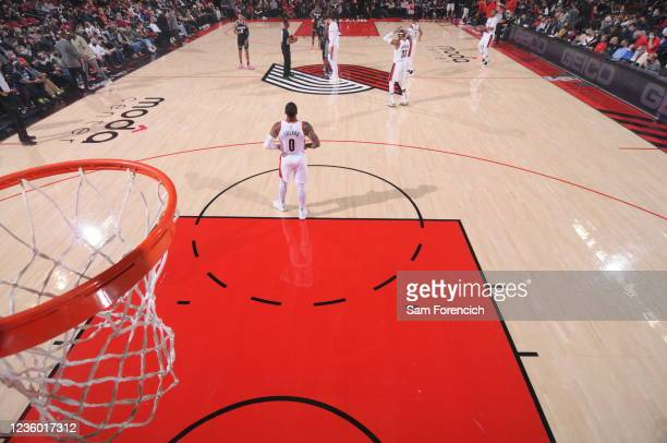 Damian Lillard of the Portland Trail Blazers looks on during the game against the Sacramento Kings on October 20, 2021 at the Moda Center Arena in...