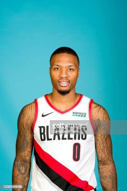Damian Lillard of the Portland Trail Blazers poses for a head shot during the Portland Trail Blazers Media on September 24 2018 at the Moda Center in...