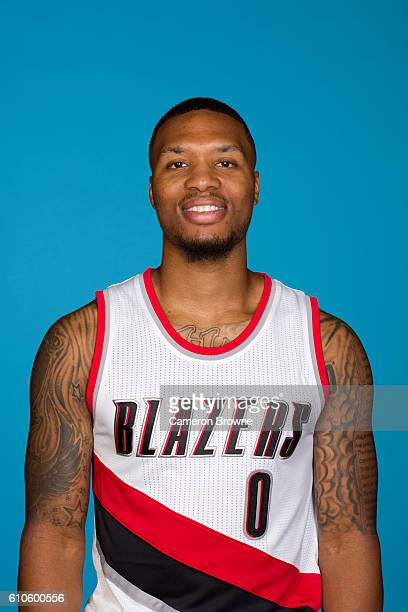 Damian Lillard of the Portland Trail Blazers poses for a headshot during the 20162017 Portland Trail Blazers media day on September 26 2016 at the...