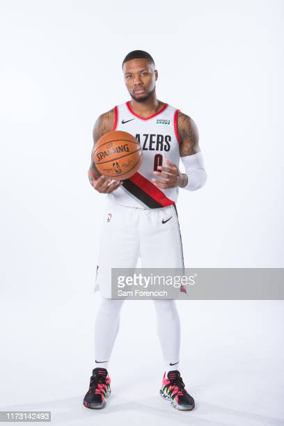 Damian Lillard of the Portland Trail Blazers poses for a portrait during Media Day September 30, 2019 at the Veterans Memorial Coliseum Portland,...