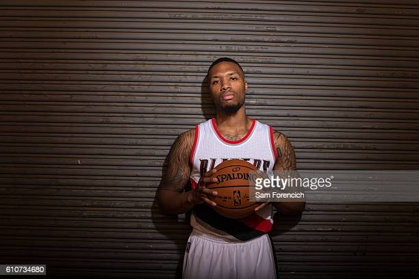 Damian Lillard of the Portland Trail Blazers poses for a portrait during the 20162017 Portland Trail Blazer Media Day September 26 2016 at the...