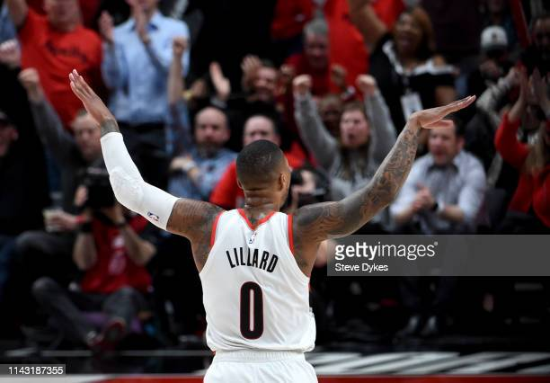 Damian Lillard of the Portland Trail Blazers reacts after hitting a shot during the second half of Game Two of the Western Conference quarterfinals...