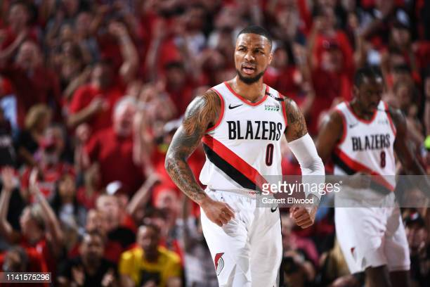 Damian Lillard of the Portland Trail Blazers reacts during a game against the Denver Nuggets during Game Four of the Western Conference Semifinals on...