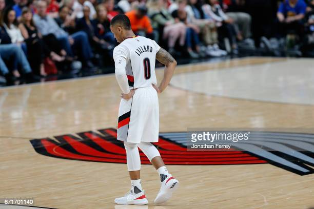 Damian Lillard of the Portland Trail Blazers reacts during action against the Golden State Warriors during Game Three of the Western Conference...