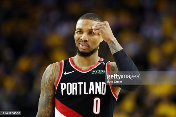 Damian Lillard of the Portland Trail Blazers reacts during the second half against the Golden State Warriors in game one of the NBA Western...