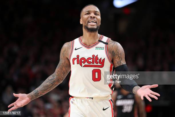 Damian Lillard of the Portland Trail Blazers reacts to a call in the third quarter against the Miami Heat during their game at Moda Center on...