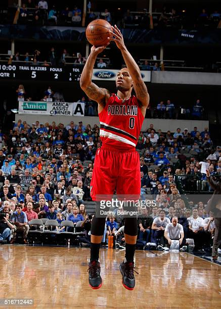 Damian Lillard of the Portland Trail Blazers shoots a jumper against the Dallas Mavericks on March 20 2016 at the American Airlines Center in Dallas...