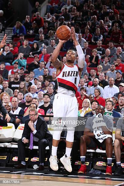 Damian Lillard of the Portland Trail Blazers shoots against the Toronto Raptors on February 4 2016 at the Moda Center in Portland Oregon NOTE TO USER...