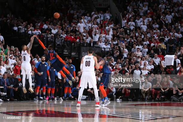 Damian Lillard of the Portland Trail Blazers shoots his nineth threepont to break franchise record for most three pointers during Game Five of Round...