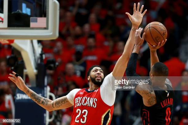 Damian Lillard of the Portland Trail Blazers shoots over Anthony Davis of the New Orleans Pelicans during Game 3 of the Western Conference playoffs...