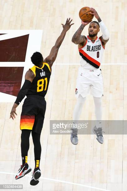 Damian Lillard of the Portland Trail Blazers shoots over Miye Oni of the Utah Jazz during a game at Vivint Smart Home Arena on May 12, 2021 in Salt...