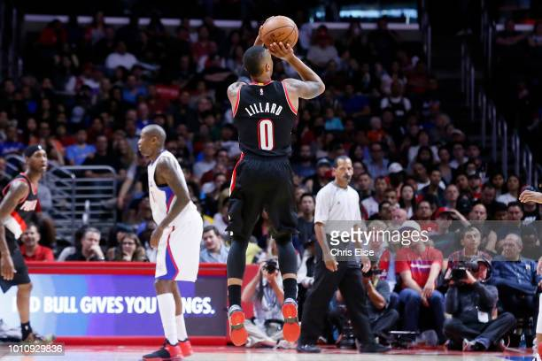 Damian Lillard of the Portland Trail Blazers shoots the ball against the LA Clippers on November 8 2014 at the STAPLES Center in Los Angeles...