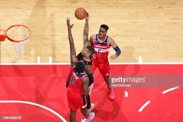 Damian Lillard of the Portland Trail Blazers shoots the ball against the Washington Wizards on November 18 2018 at Capital One Arena in Washington DC...